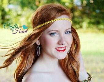 Yellow Boho Headband - Boho Headband - Bohemian Headband - Forehead Headband - Womens Headband - Adult Boho Headband - Hippie Headband