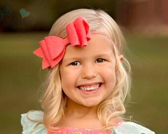 Jumbo Bow Headband - Coral Bow Headband - Coral Bow - Bow Headband - Felt Bow Headband - Felt Bow - Bows for Girls - Large Bow Headbands