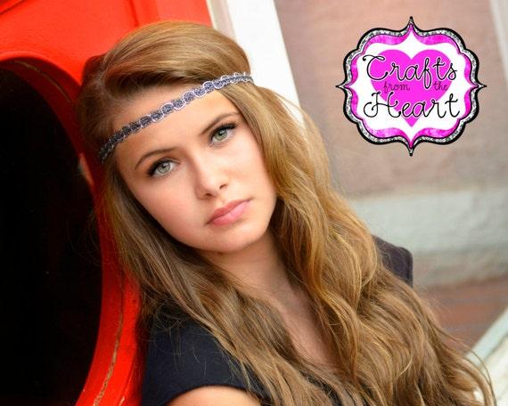 Silver Black Boho Headband  8d23c1b2194
