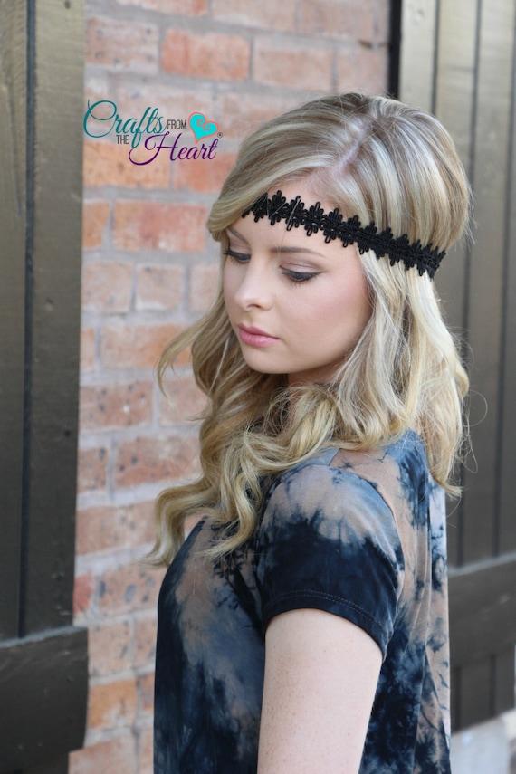 Black Boho Headband Halo Headband Bohemian Headband Boho  8243e721ff0