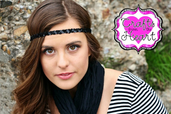 Black Boho Headband Bohemian Headband Womens Boho Headband  94396f48432