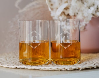 Waterford Elegance Personalized Whiskey Glasses (Set of TWO) Custom Engraved Crystal DOF Whiskey Glass, Mens Monogrammed Gift, Fathers Day