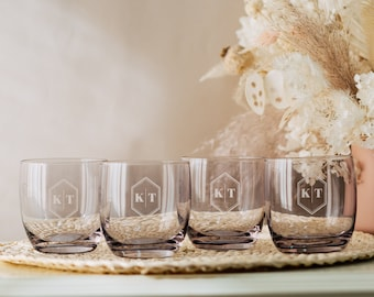 Personalized 4 Piece Lenox Whiskey Glass Set - 12oz Custom Engraved Valencia Smoke Whiskey Glass Set, Mens Monogram Gift Set