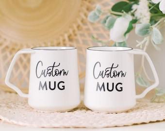 Custom Coffee Mug Pair (SET of 2) Personalized Mug, Personalized Wedding Gift, Custom Christmas Mug, Birthday Gift, Dansk White Mug