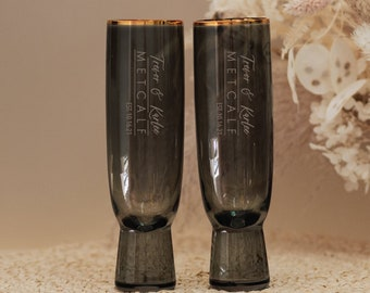 Personalized Lenox Trianna Slate Champagne Flute (Set of TWO) Custom Engraved Modern Gray Toasting Flutes, Bride & Groom Wedding Gift
