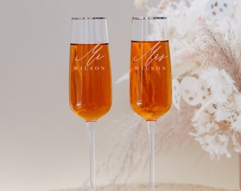 Personalized Silver Rim Custom Wedding Toasting Glasses (Set of TWO) Pair Engraved Zodax London Champagne Flutes Engagement Anniversary Gift