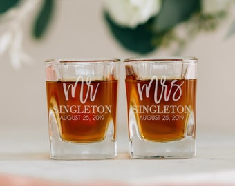 Set of TWO Couples Engagement Gift Wedding Favor Bridal Party Favor Pair Custom Square Shot Glass Personalized Wedding Shot Glasses