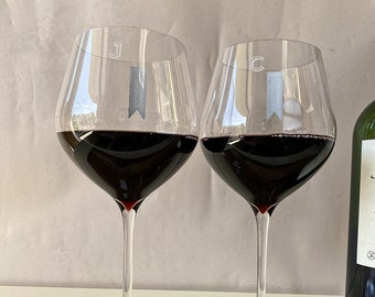 Waterford Elegance Bold Outline Monogram Wine Glasses (Set of TWO) Custom Engraved Cabernet Sauvignon Personalized Red Wine Glasses
