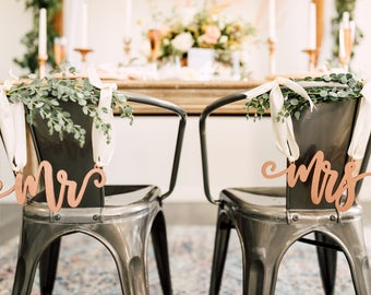 Mr mrs chair signs | Etsy