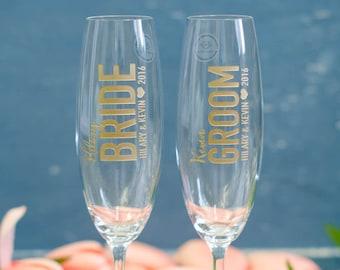 Personalized Lenox Tuscany Bride & Groom Wedding Toasting Flutes (Set of TWO) Engraved Champagne Glasses, Custom Wedding Gift