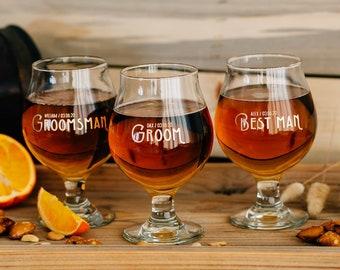 Custom Listing, Personalized Stemmed Beer Glass Bridemaid Gift - Engraved Custom Belgian Beer Glass
