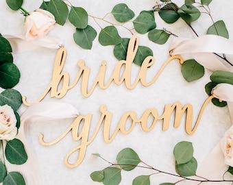 "Laser Cut Bride & Groom Wedding Chair Signs (Set of TWO) 13"" x 5"" Wood Script Chair Decor, Custom Chair Sign - Feminine Style"