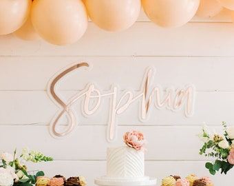"""30"""" Double Layer Personalized Backdrop Sign - Laser Cut Acrylic Custom Name Sign, First Birthday Name Sign, Baby Shower Dessert Bar Decor"""