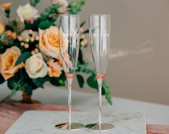 09ee2eac475 Personalized Kate Spade Rosy Glow Champagne Flute Pair, Custom Engraved  Lenox Rose Gold Toasting Flutes, Custom Wedding Glasses, Engagement