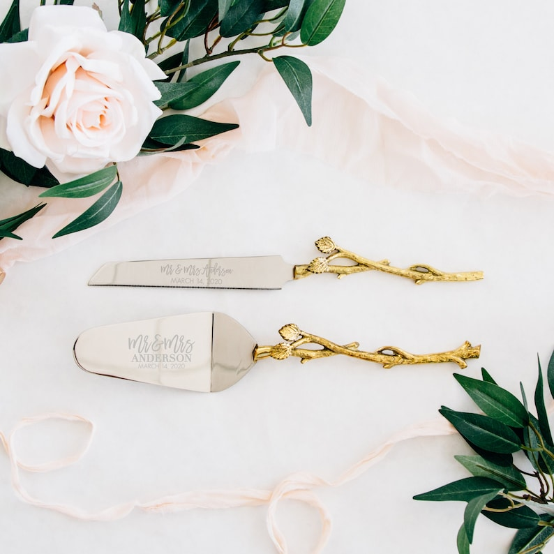 Personalized Wedding Gold Leaf Cake Knife and Server Set  image 0