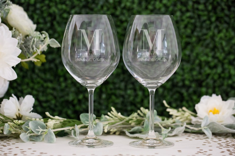 7bf602f721f Personalized Lenox Red Wine Glass Set of TWO Custom Engraved image 0 ...