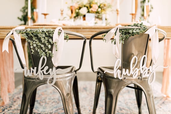 hubby and wifey Chair Signs  Wood  Bride and Groom Chair Signs  Sweetheart Chair Signs  Laser Cut Wedding Signs
