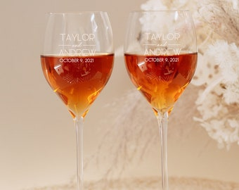Engraved Waterford Elegance Crystal Personalized Wine Glasses (Set of TWO) Chardonnay White Wine Glasses, Premium Wedding Gift, Anniversary