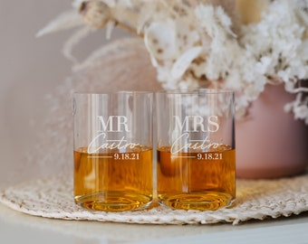 Waterford Elegance Personalized Whiskey Glasses (Set of TWO) Custom Engraved Crystal DOF Whiskey Glass, Wedding Glasses, Anniversary Gift