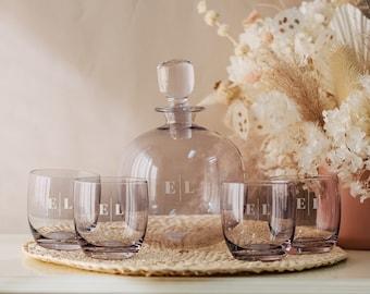 Personalized 5 Piece Lenox Whiskey Decanter Set - 68oz Custom Engraved Valencia Smoke Whiskey Glass Set, Mens Monogram Gift Set