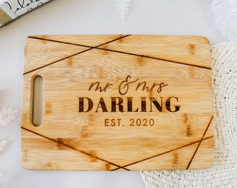 Shimmer Mr & Mrs Custom Wood Cutting Board - 14x10 Laser Engraved Bamboo Cheese Board, Personalized Engagement Gift, 2020 Christmas Gift