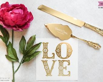 Personalized Gold Wedding Cake Knife and Server Set (2pc) Custom Engraved Classic Gold Cake Serving Set, Personalized Wedding Gift