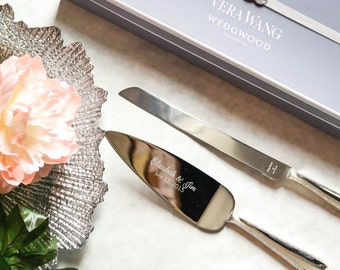 Custom Vera Wang Infinity Wedding Cake Knife & Server Set (2pc SET) Personalized Cake Serving Set, Wedding Gift, Engagement Present