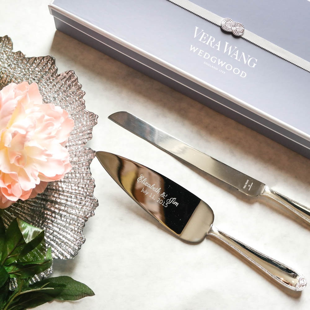 Custom Vera Wang Infinity Wedding Cake Knife & Server Set 2pc