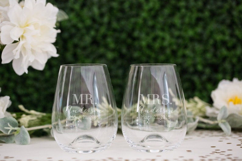 6d6d2d177b8 Personalized Lenox Tuscany Stemless Wine Glass Set of TWO image 0 ...