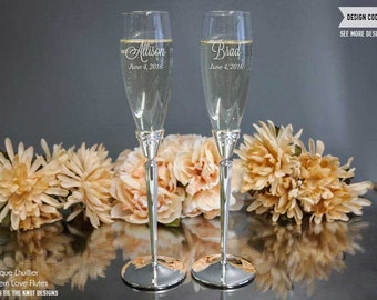 Monique Lhuillier Modern Love Personalized Champagne Flutes - (Set of TWO) Custom Engraved Toasting Glasses - Wedding Gift - Engagement Gift