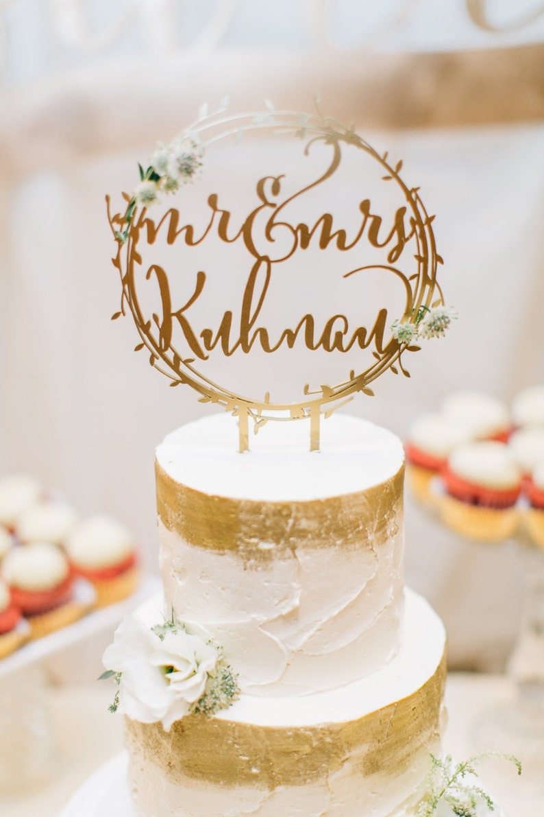 Personalized Mr & Mrs Rustic Gold Wreath Wedding Cake Topper  image 0