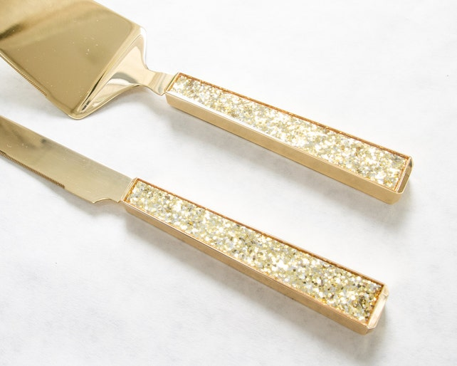 personalized kate spade simply sparkling gold wedding cake knife and