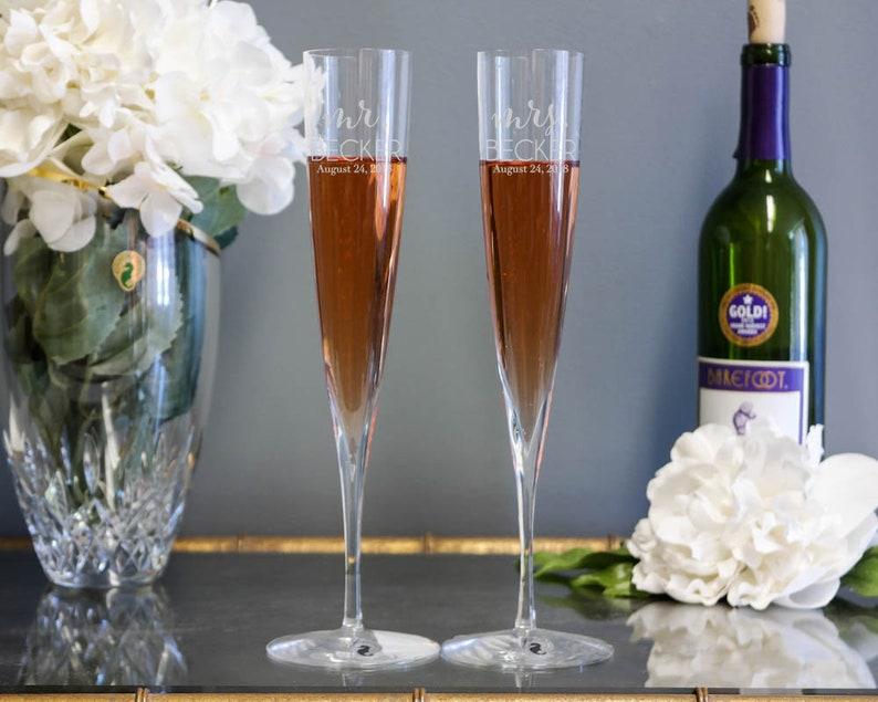 d9d68c2faaf0 Waterford Elegance Trumpet Custom Champagne Flutes Set of | Etsy