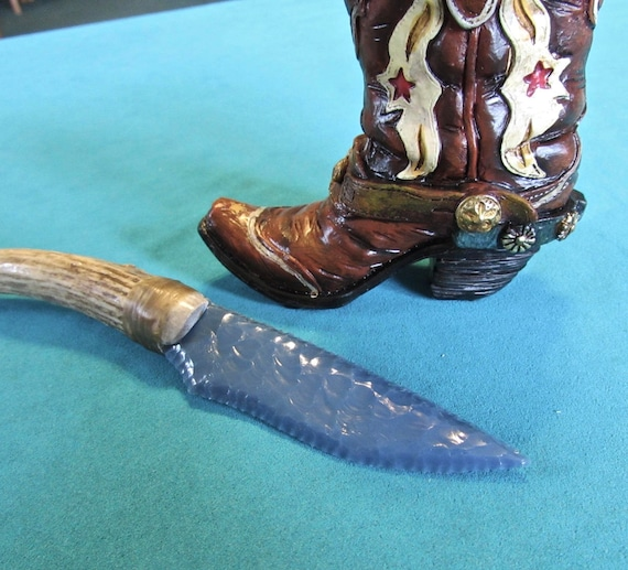 Custom Knapped Knife Stag Cowboy Boot