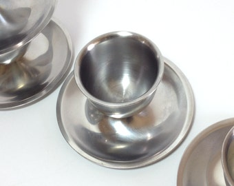 Lundtofte Stainless Steel Egg Cup Holders Made in Denmark Vintage Danish Modern