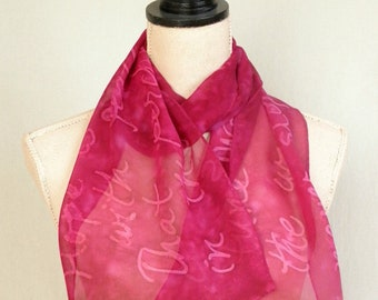 Hope Is The Thing with Feathers - Magenta Silk Chiffon scarf