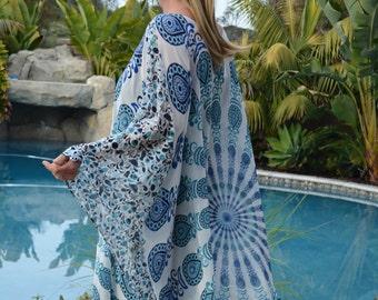 Blue and White Chiffon Caftan, Womens Kaftans, Beach Coverup, Swimsuit Coverup, Beach Dress,