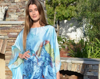6606006586f Blue Dream Silky Caftan Womens Kaftans Beach Coverup Beach Dress Long Caftan  Blue Caftan