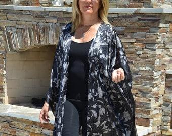 22e0a8e436d Designer Print Pure Silk Kimono Black Silk Kimono Womens Kimonos Resort  Wear Swimsuit Coverup Black Silk Coat