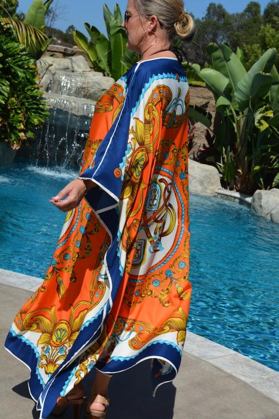 los angeles bbd98 a34f0 Entwerfer Druck Seidenkaftan, Womens Seide Kaftan, Kleid aus Seide, Seide  Strand Vertuschung, lange Seidenkaftan, Plus Größe