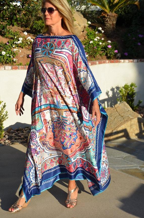 c1882761ca8 Designer Print Silk Caftan Womens Silk Caftan Kaftans Silk