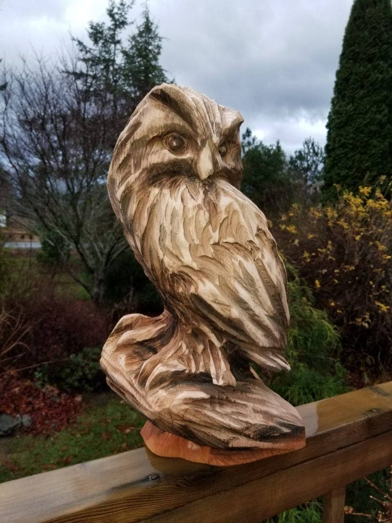 Chainsaw carving of owl perched on branch made to order etsy
