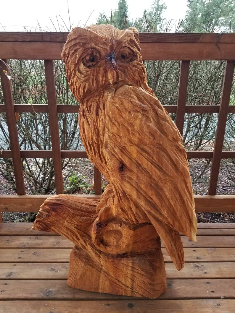 Wise owl chainsaw carving made to order weeks etsy