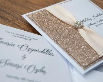 Champagne Glitter with Pearl Embellishment Wedding Invitation