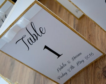 Glitter Table Number with Table Plan Insert