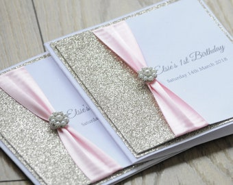 1st Birthday Champagne Glitter Gold with Pearl Embellishment Invitation
