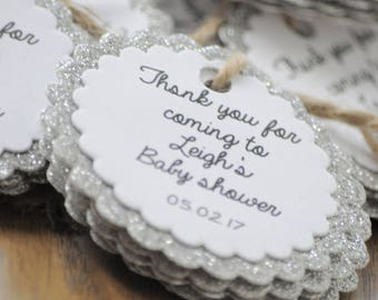 10x Personalised Scalloped Baby Shower Glitter Tags/Thank You/Favour