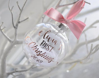 Pink With Rose Gold Personalised Baby's First Christmas Bauble