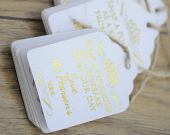 10x Gold Foil Mini Snap a Polaroid as a Keepsake From Our Day Favour/Wedding Tags