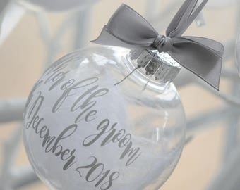 Bridal Party Christmas Baubles Silver/ Bridesmaid /Mother of the Bride / Mother of the Groom/ Maid of Honour
